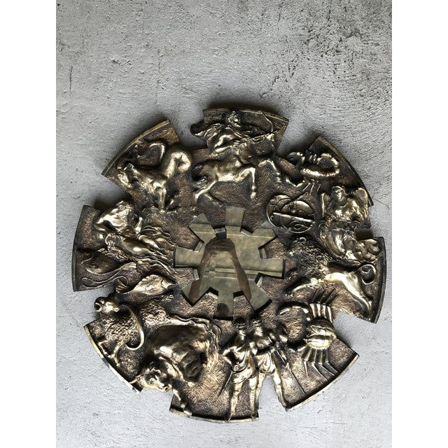 Large cast resin Zodiac mirror by Finesse Originals. It is in good vintage condition, with minor damage(hard to see, on...
