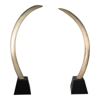 Pair of Mid-Century Monumental Faux Wooden Elephant Tusks, Circa 1960s-1970s For Sale