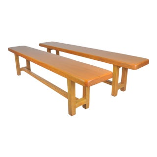 Antique French Farmhouse Style Mahogany Benches - a Pair For Sale