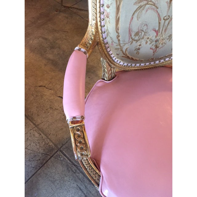 19th Century French Carved Gilt & Pink Leather Aubusson Back Arm Chairs - a Pair For Sale In Los Angeles - Image 6 of 13