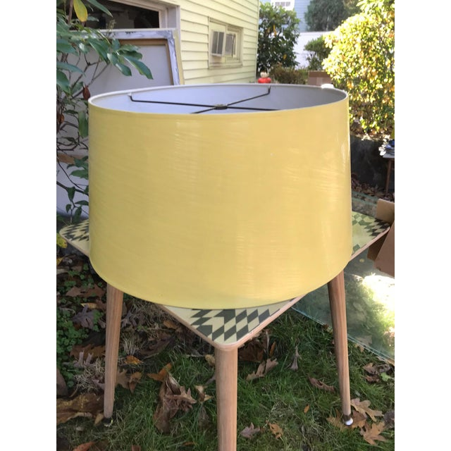 Vintage Yellow High Gloss Drum Shade For Sale - Image 4 of 6