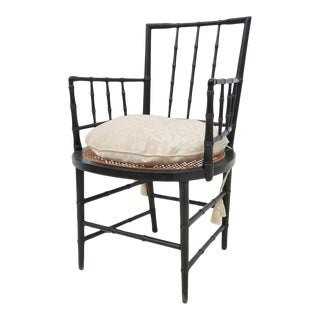 Carved Faux Bamboo Arm Chair