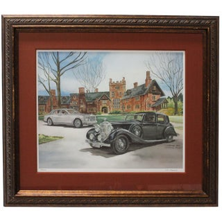 LR Daniels Rolls Royce Watercolor Painting For Sale