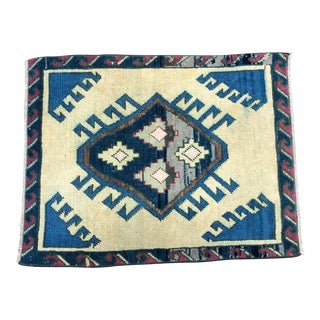 Vintage Traditional Turkish Handmade Beige and Blue Small Rug For Sale