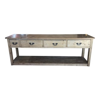English Style Four Drawer Pine Console