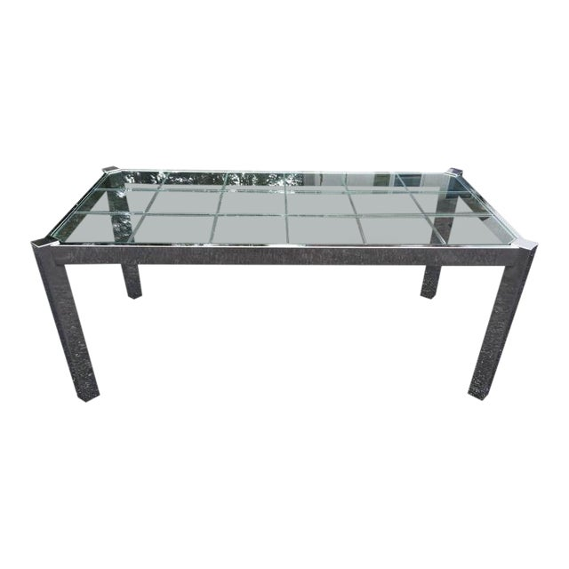 Design Institute of America Chrome & Glass Dining Table For Sale