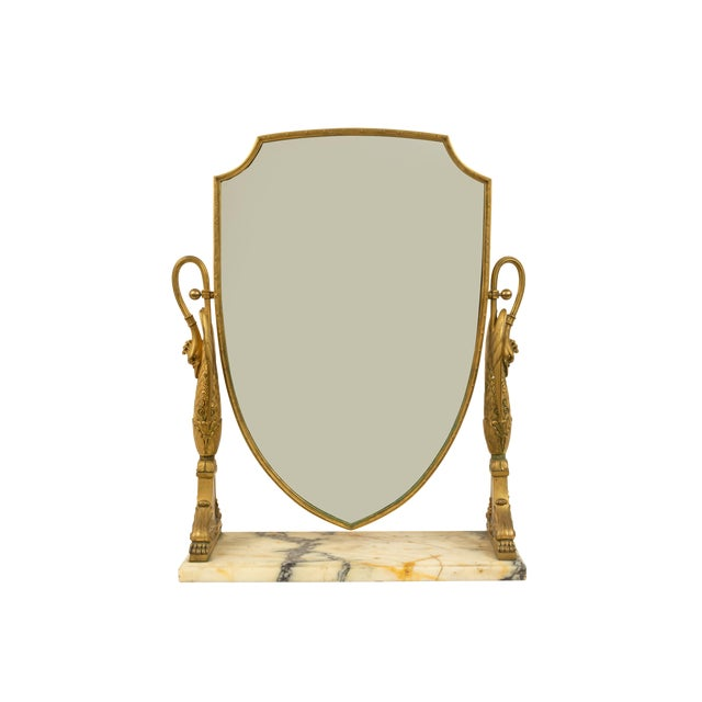 French Empire Bronze Dore Swan Dressing Table / Vanity Mirror For Sale - Image 4 of 4