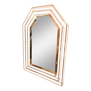 1970's Lucite Framed Geometric Arched Mirror For Sale