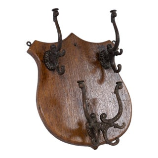 1940s Traditional Barber Shop Wall Hanging Coat Rack For Sale