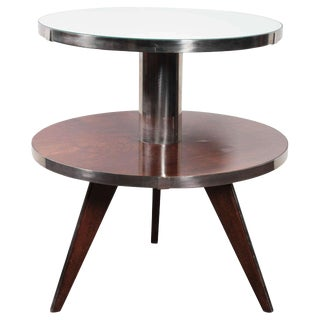 French Modern Occasional Table in Wood, Mirror, Nickeled Bronze For Sale