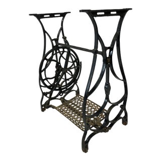 Vintage Industrial Cast Iron Sewing Machine Base For Sale