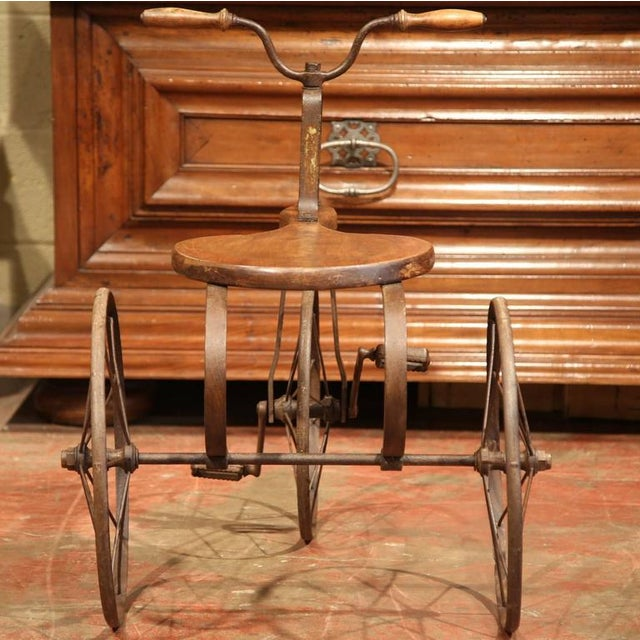Brown 19th Century French Iron and Wood Tricycle in Wonderful Working Condition For Sale - Image 8 of 8