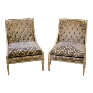 Pair of Vintage Hibriten Button Tufted Slipper Chairs For Sale