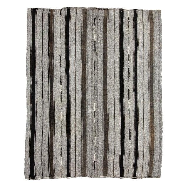 1960s Vintage Striped Gray Kilim Rug- 7′2″ × 9′ For Sale