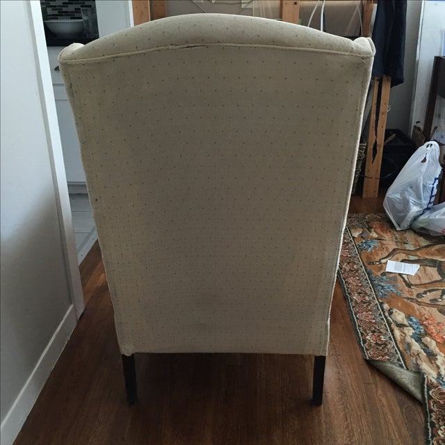 Vintage Ivory Wingback Chair - Image 7 of 8