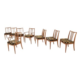 Mid-Century Walnut Velvet Upholstered Dining Chairs - Set of 8 For Sale