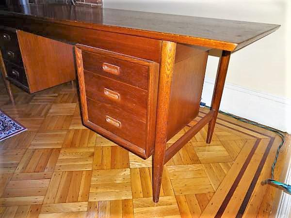 Danish Modern Vintage Mid Century Office Desk For Sale   Image 3 Of 8