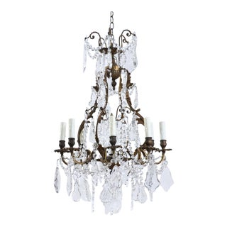 French Antique Bronze and Crystal Chandelier For Sale