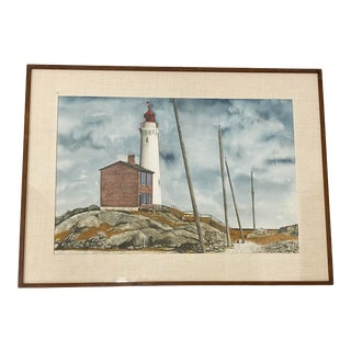 """Ronald Woodall """"Fort Rodd Hill and Fisgard Lighthouse"""" Original Watercolor C.1970 For Sale"""