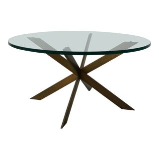 Mid Century Solid Bronze Base Coffee Table by Pace For Sale