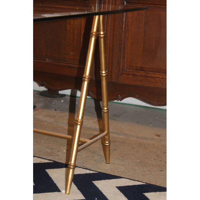 Glass & Gold Iron Faux Bamboo Dining Table - Image 2 of 6