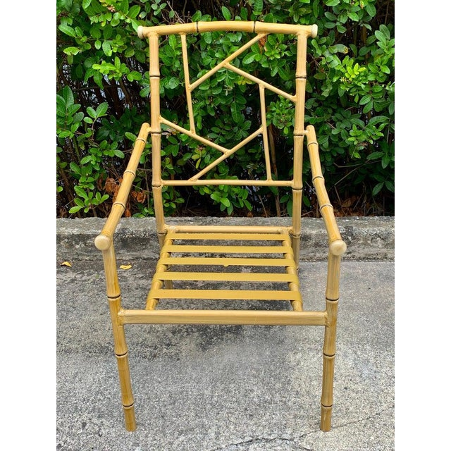 Brown Set of Six Hollywood Regency Faux Bamboo Garden Chairs For Sale - Image 8 of 10