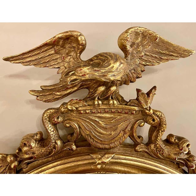 Federal Style Convex Eagle Carved Mirror, Wall, Console Mirror For Sale - Image 10 of 13