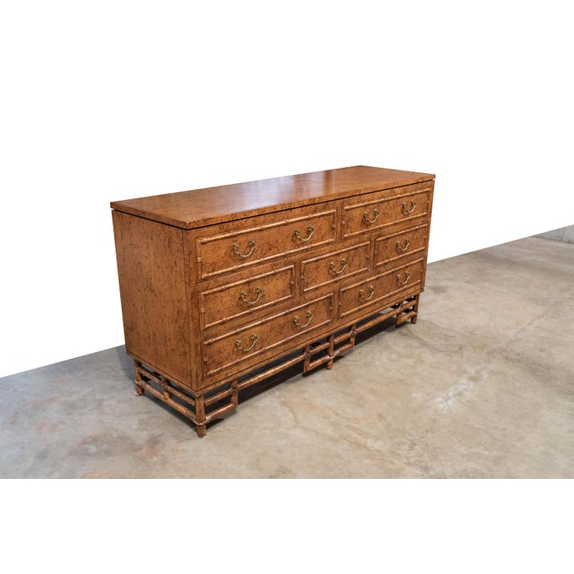 Chippendale 1960's Vintage Ficks Reed Faux Bamboo 7 Drawer Dresser For Sale - Image 3 of 13