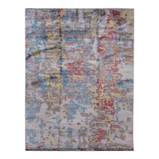 21st Century Modern Abstract Wool and Silk Indian Rug For Sale