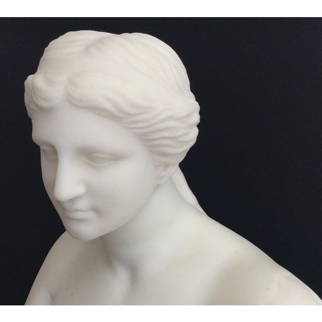 Unsigned marble bust with separate socle. 19th century, modeled in 1/4 human size so it will fit well on a desk or...