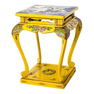 Japanned Yellow Lacquered Stand/Stool, Japan For Sale