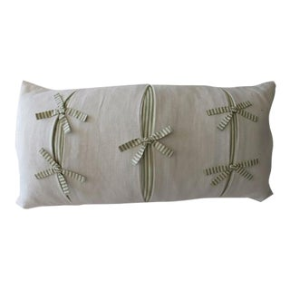 Cream Linen Bows and Pleats Pillow With Green & White Silk Ticking For Sale
