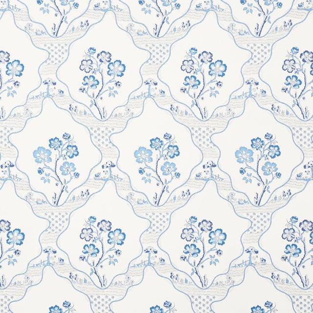 Contemporary Sample - Schumacher Marella Wallpaper in Delft For Sale - Image 3 of 3