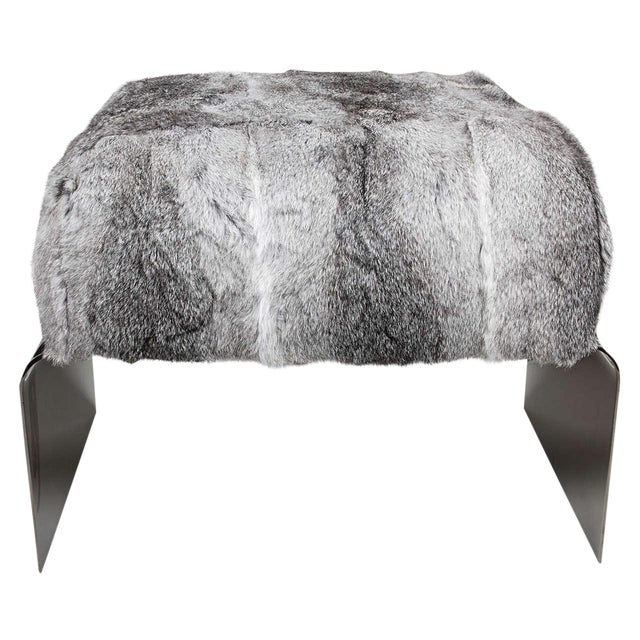 Luxe Mid-Century Modern Style Stool in Lapin Fur For Sale