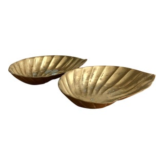 Brass Oyster Shell Ashtrays - A Pair