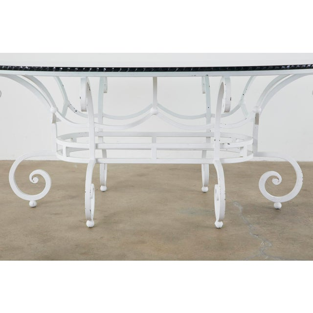Oval Wrought Iron Painted Garden Dining Table For Sale - Image 4 of 13