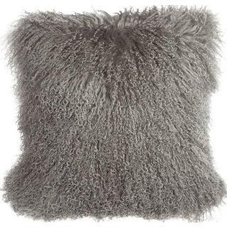 Mongolian Sheepskin Gray 18x18 Pillow For Sale