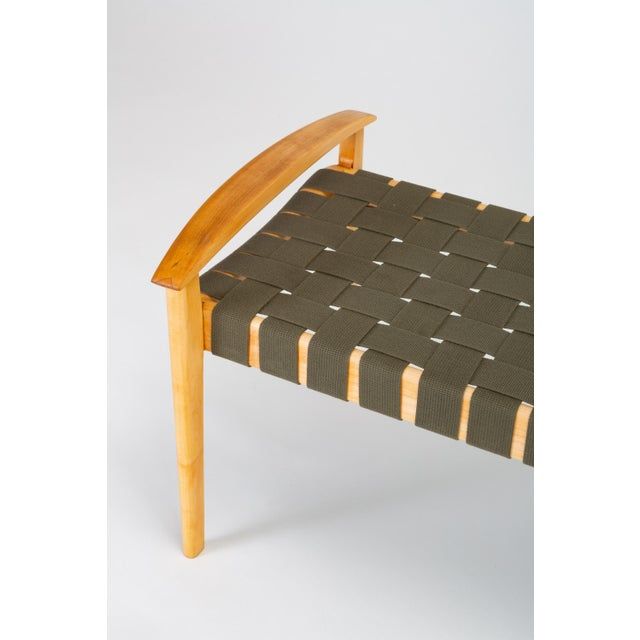 American-Made Maple Bench With Woven Seat by Tom Ghilarducci For Sale - Image 10 of 13