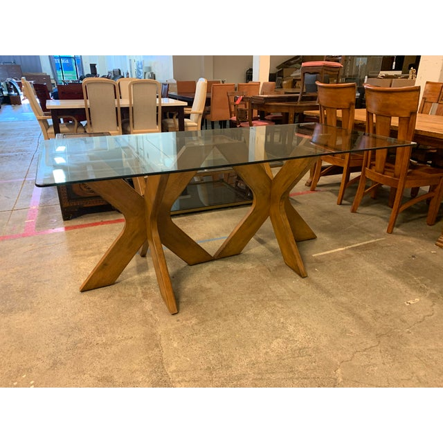 Contemporary West Elm Double Pedestal Wood X Base + Glass Top Table For Sale - Image 3 of 8