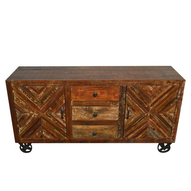 Country Reclaimed Wood Sideboard on Iron Wheels For Sale - Image 3 of 3