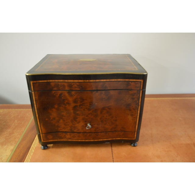 19th Century Portable Bar With the Origianal Etched Crystals Decanters and 14 Sherry Glasses Sitting in a Rosewood Box. For Sale In Buffalo - Image 6 of 11