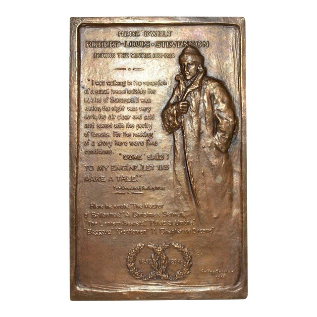 Robert Louis Stevenson Bronze Medallion by Gutzon Borglum c.1915 For Sale