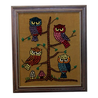 1970s Mid-Century Modern Owl Themed Wall Art String Painting With Mushrooms For Sale