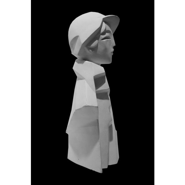 Karin Swildens White Deco Man and Woman Cast Sculptures For Sale - Image 10 of 13