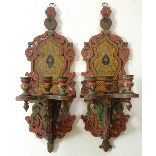 French/Persian Candle Sconces - a Pair - Image 2 of 4