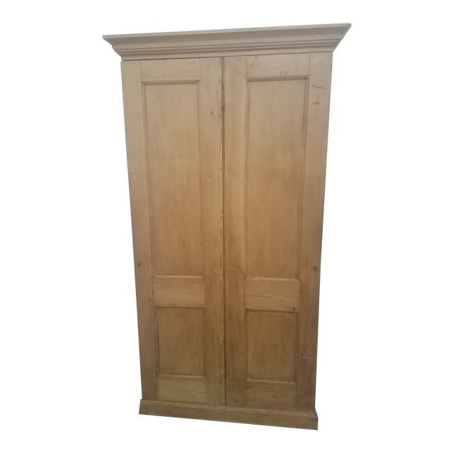 Antique English Pine Tall Cupboard For Sale