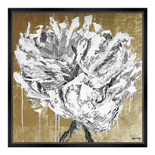 """Oliver Gal Small 'Claire Sower - Leave It Behind Gold and White' Framed Art 18"""" x 18"""" For Sale"""