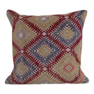Vintage Turkish Kilim Rug Pillow For Sale