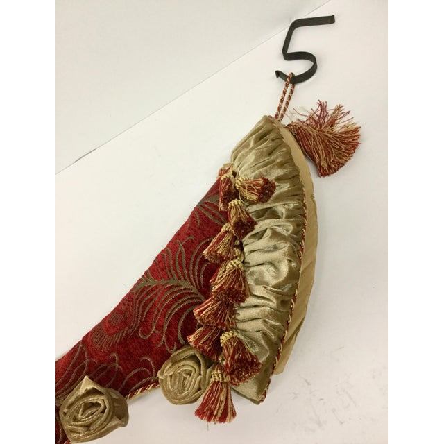 Red High Heel Upholstery Tasseled Hanging Stocking For Sale - Image 8 of 11