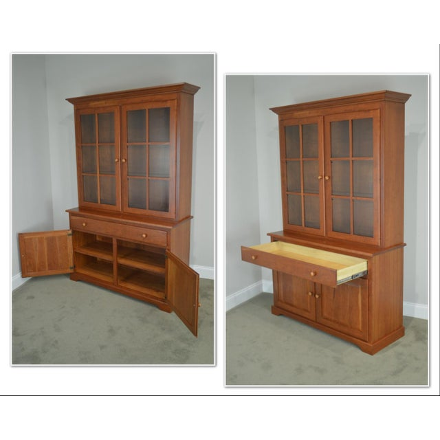 Woxall Woodcraft Hand Crafted Solid Cherry China Cabinet Hutch For Sale - Image 4 of 12